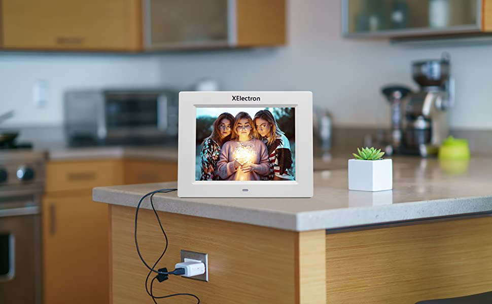 8 inch digital photo frame, white photo frame, dpf , DPF, Xelectron,gift, IPS screen