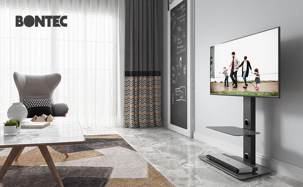 Bontec Meuble Tv Pied Orientable Avec 2 Etageres En Verre Trempe Pour 30 65 Pouces Led Oled Lcd Plasma Ecran Plat Incurve En Hauteur Reglable Max Vesa 600 X 400 Mm Jusqu A 40