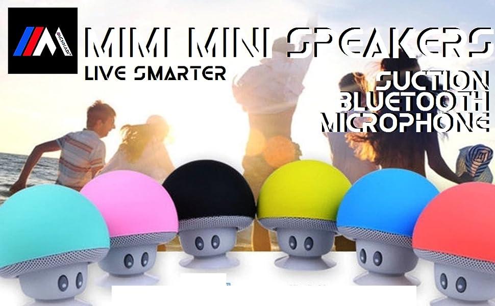 Mcnnadi Mimi Mini Bluetooth Speakers Mushroom Speakers with Micophone Amplifier Suction