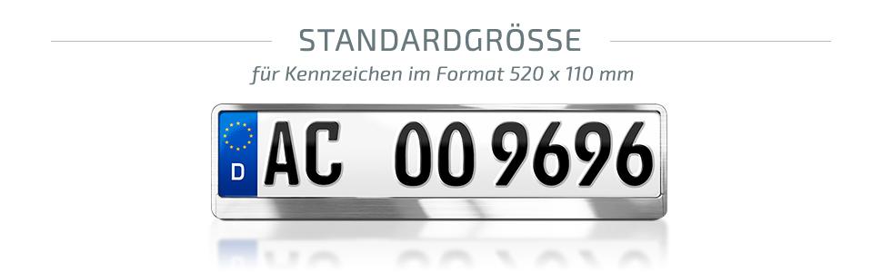 67 2x Top Kennzeichenhalter Silber Matt Chrom Optik Gebürstet Made in EU