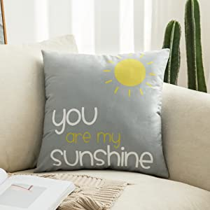 MIULEE Decorative Cute Throw Pillow Covers Yellow On Grey Cushion Case Outdoor Shell Pillow Case