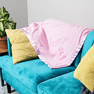 Nursery decor and bedding in blue or pink