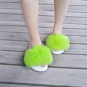 Green Fox Fur Slides