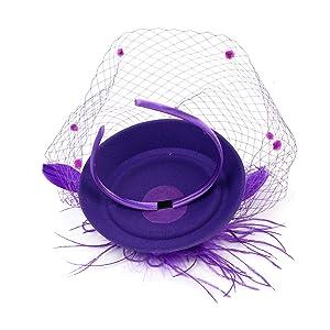 Women Pillbox Hat Net Fascinators Veil Headband