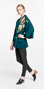 KIM+ONO Women's Charmeuse Kimono Jacket Peony amp; Butterfly Vintage Teal