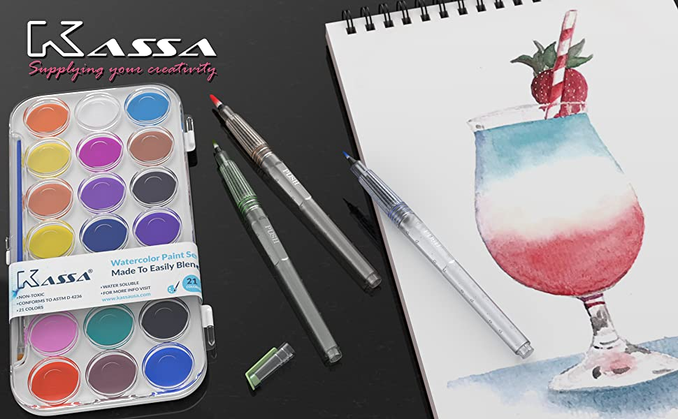 Kassa watercolor set includes water paint cake pan water brush pens and a watercolor pad