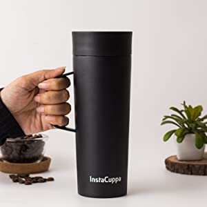 InstaCuppa Thermos Travel Mug with Handle Gives You Perfect Anti Slip Grip