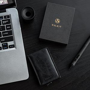 Credit Card Holder RFID Blocking Mens Leather Card Wallet Pop Up Secure Bank Card Holder 2 Slots