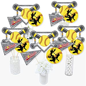 Grand Slam Fastpitch Softball Baby Shower Birthday Bday Party Table Toppers Centerpiece