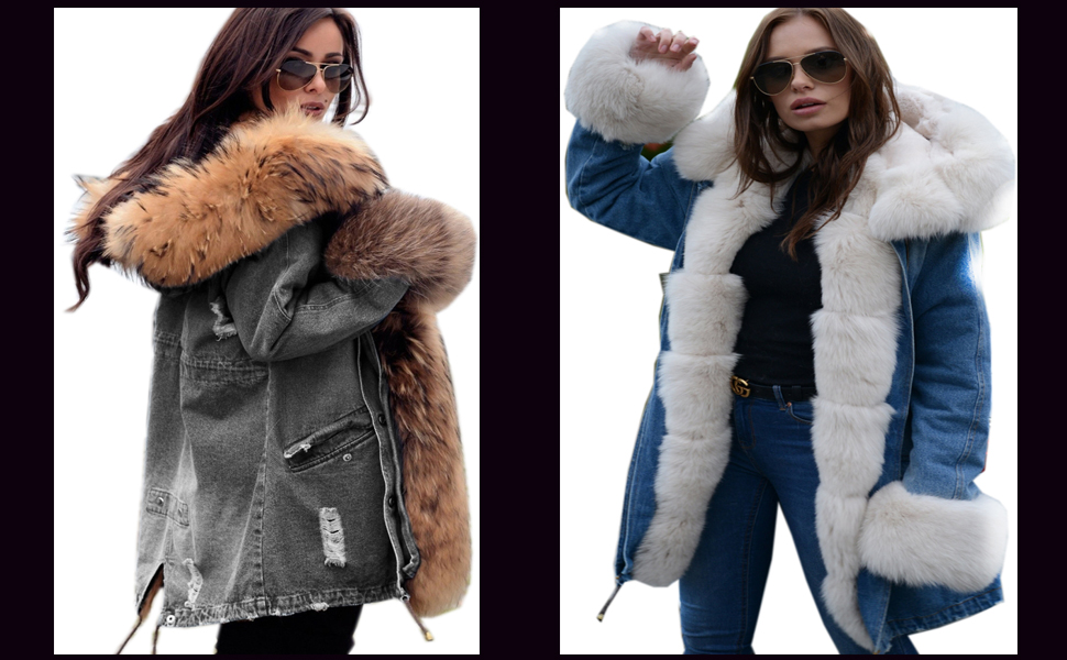 Heless Mens Warm Faux Fur Lined Winter Fur Hoodie Down Puffer Jacket Coat Outerwear