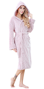 long women kimono hooded robe plush