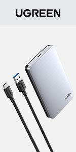 "UGREEN Aluminum USB C Hard Drive Enclosure for 2.5"" SATA SSD HDD"