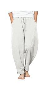 Men's Baggy Capri Trousers Drawstring Vacation Linen Beach Pants Summer