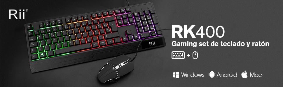 Rii Teclado Gaming RM400 Combo Rainbow Retroiluminación,Teclado y Ratón con Cable,ratón Gaming,12 eclas Multimedia y 19 Teclas Anti Fantasma para ...