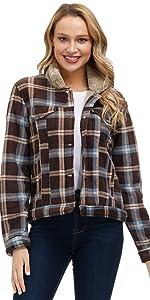 Selowin Women Fleece Fuzzy Faux Outwear Jacket
