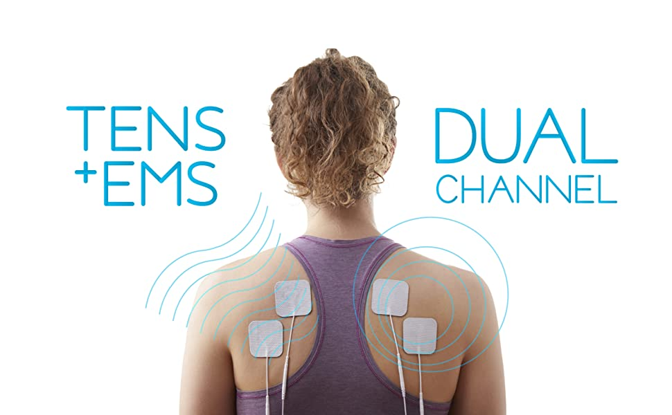 Cureve TENS EMS Dual Channels Pads on Back