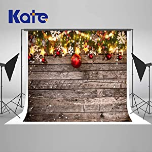 Kate 7/×5ft Christmas Snow Backdrops Christmas Background with Gold Balls for Happy New Year Xmas Photography Party Decorations Seamless
