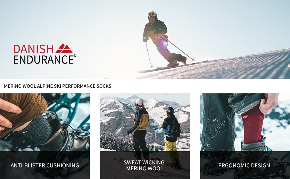 MERINO WOOL ALPINE SKI PERFORMANCE SOCKS