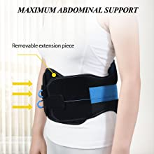 MAXIMUM ABDOMINAL SUPPORT with removable extension piece.