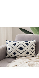 solid woven tufted technic throw pillow cover 12x20 lumbar pillow sofa cotton covers