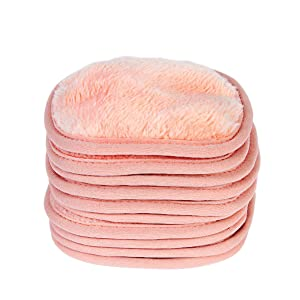 Eurow Makeup Removal Cleaning Cloth, 8 by 8 Inches, Coral, Pack of 4