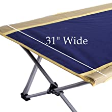 wide cot comfortable long sturdy adult teenager heavy duty 330 lbs weight capacity large blue