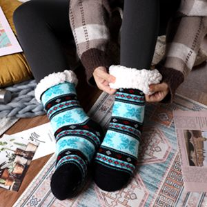 Women's Winter Snowflake Fleece Lining Knit Christmas Knee Highs Stockings Slipper Socks