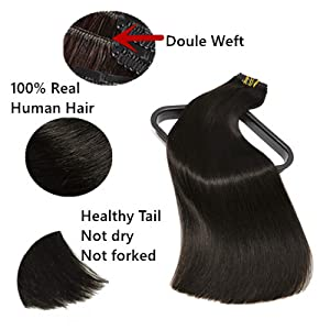 The picture show how to identify human clip in hair extensions.