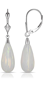 14K White Gold Tear-drop Colors of Simulated Opal Dangle Leverback Earrings (8mmx40mm)