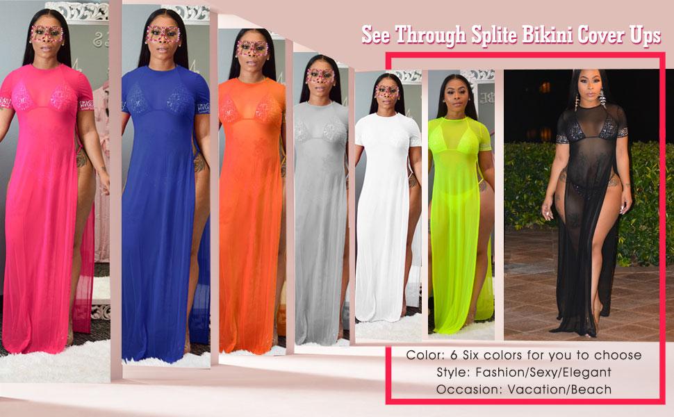 Women's Bikini Cover Ups Mesh Swinsuit Sun Dresses Plus Size Crochet Maxi Dresses