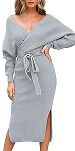 Selowin Women Backless Sweater Dresses
