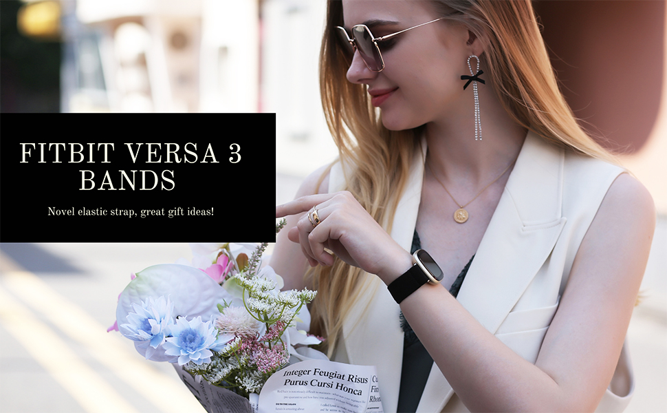 Fitbit Versa 3 Bands Elastic Scrunchie Strap Women Bracelet Wristband Gift Christmas