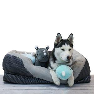 BarksBar Large Snuggly Sleeper Orthopedic Dog Bed with Rim Cushion, Gray