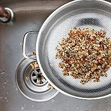 do not use the colander to wash or strain fine grain, not for quinoa, sturdy colander