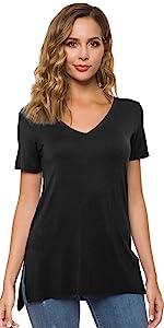 P04BK Loose Women   V Neck T-shirt