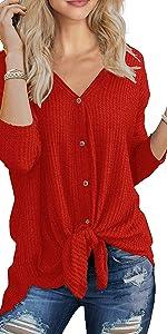Waffle Knit Tunic Blouse