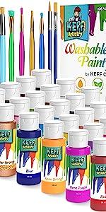 Washable Paint Set for Kids, Premium Value Pack Includes 30 Vibrant Kids Tempera Paint, nontoxic