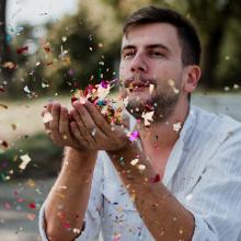 confetti colorful man