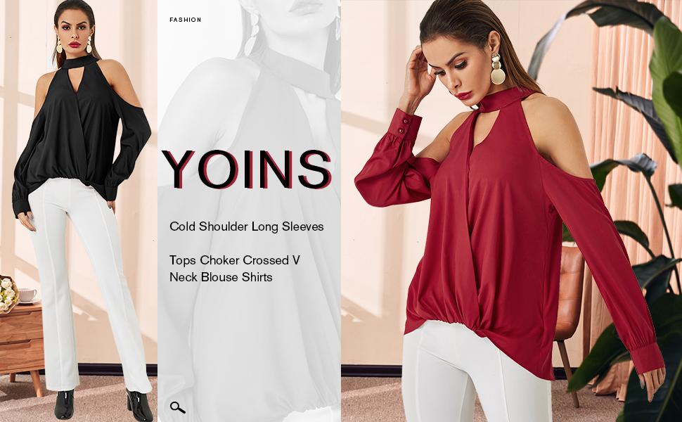 YOINS cold shoulder tops blouse for women