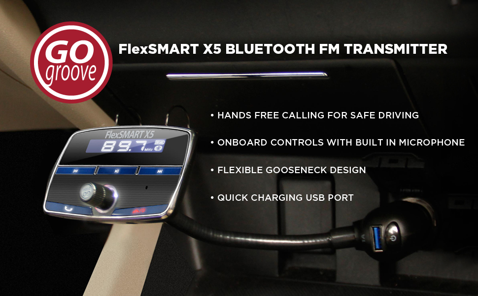 Music Playback Motorola Samsung ASUS and More! Wileyfox GOgroove FlexSMART X5 In-Car Bluetooth FM Transmitter Kit with Hands-Free Calling Compatible with Apple Black USB Charging