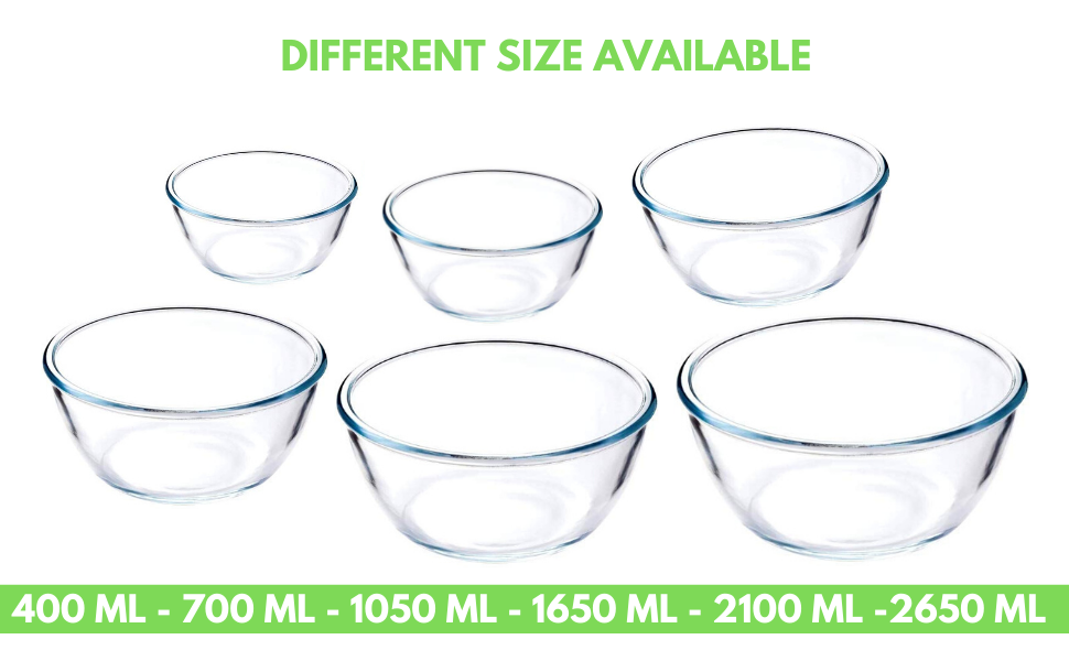 Borosilicate Glass Round Vegetable Serve Mixing Bowl