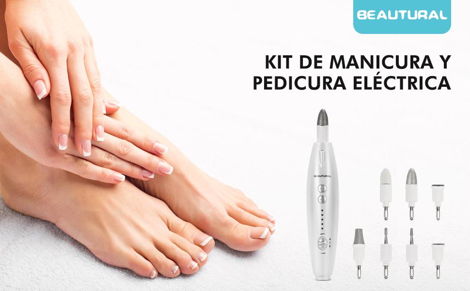 BEAUTURAL Kit de Manicura y Pedicura Eléctrico Profesional, Potente Lima Manicura Pulidora para Uñas con 7 Piezas Accesorios, Sistema de pulido para ...