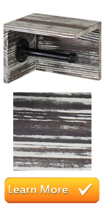 Torched Wood amp; Pipe Wall-Mounted Toilet Paper Holder amp; Shelf