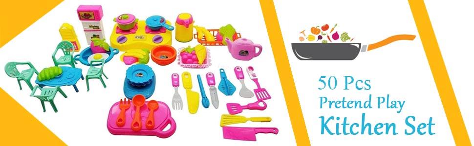 Pretend Play Kitchen Set 50 Pcs Kids Toddlers Baby Babies