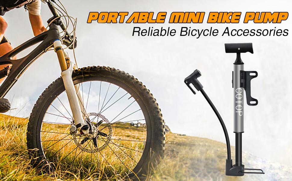 COTOP Bomba para Bicicleta, Mini Bombas de Aire para Bicicletas con Manguera Flexible y adaptadores, se Adapta a la válvula Presta y Schrader y a la Aguja de la Bomba de Bola