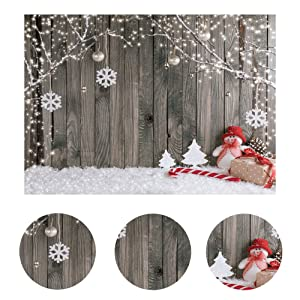 Insun Wooden Wall Photo Backdrop Christmas Snow Floor Photography Background Non Reflective for Birthday Anniversary Party Photo 10x10ft WxL