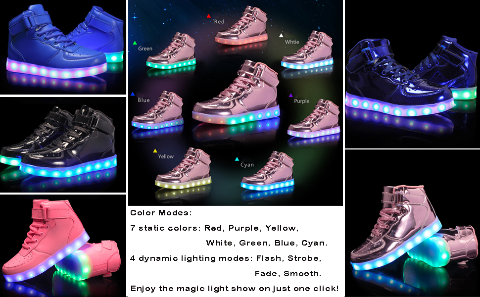 BOKEN High Top LED Shoes Light Up Sneakers for Kids Girls Boys with Remote Control