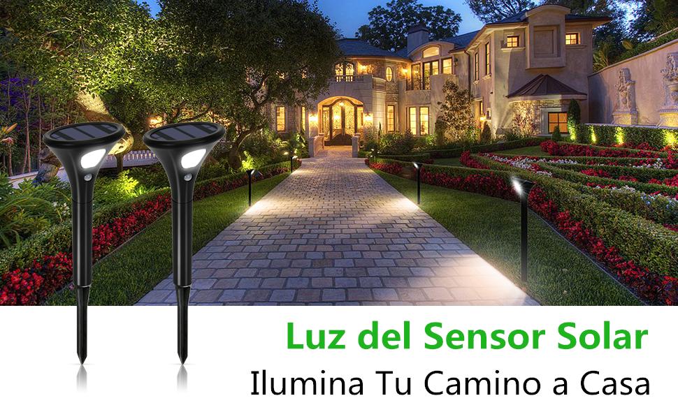 Luces Solares Jardín, Lamparas Solares Exterior con Sensor de ...