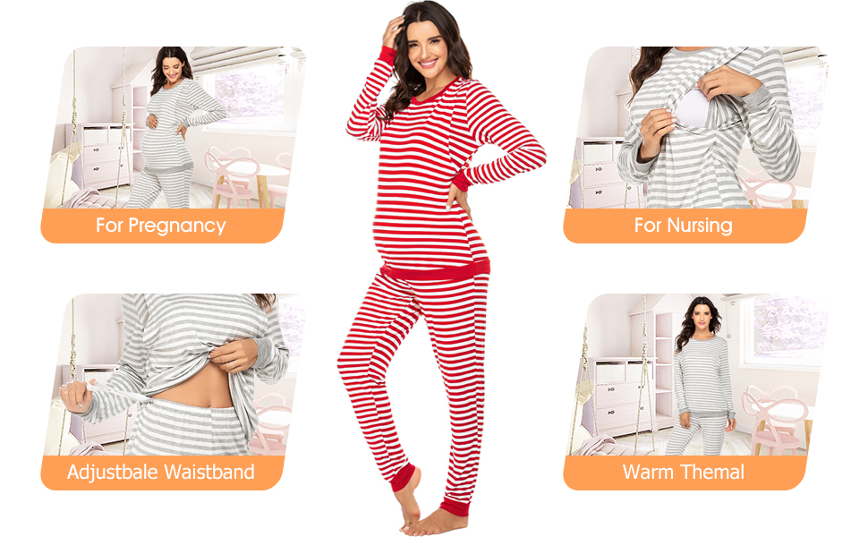 Women's Maternity Nursing Pajamas Set Soft Pregnancy Breastfeeding Pj Set Striped Themal Underwear