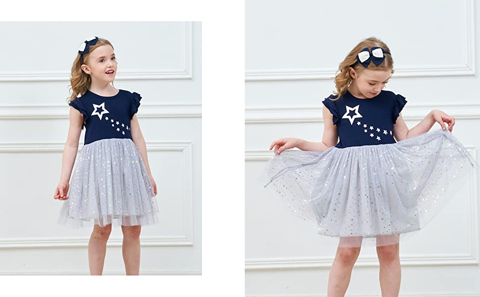 VIKITA Girls Dress Kids Dress Short Sleeve Dresses Cotton Embroidery Rainbow Flower Print Age 1-8 Years SH5802LONG 4T